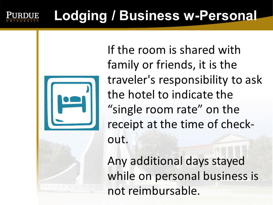 Subsistence will not be reimbursed for any days in which an employee is in vacation status Subsistence / Business w-Personal