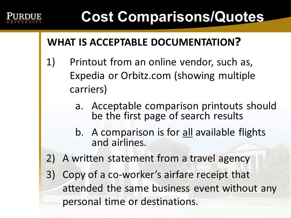 To qualify as prior , the comparison should be obtained before the purchase of airfare.