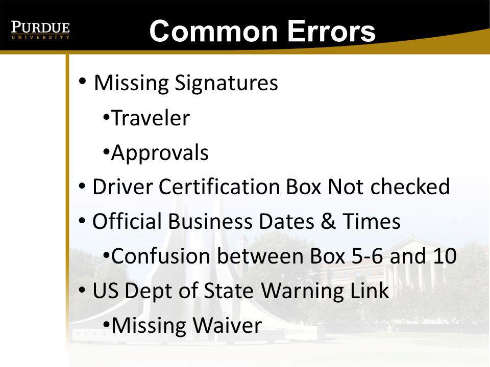 Common Errors Wrong PUID No Cost Comparison Rental Vehicle - Insurance Airfare - U.S.