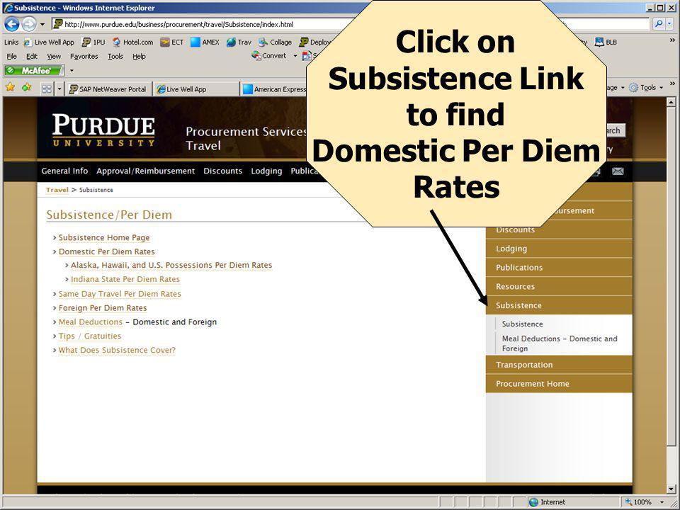 Click on CONUS To Find Appropriate Per Diem Rate