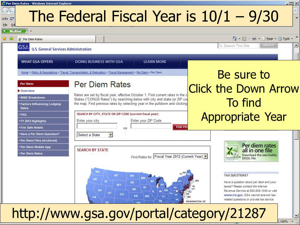 CLICK INSIDE STATE Be sure correct year is selected What is the CONUS rate for Los Angeles, California?
