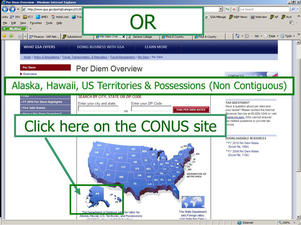1) Click drop-down arrow to select COUNTRY/STATE 2) Click drop-down arrow to specify Date of Travel 3) Click CALCULATE Department of Defense Site