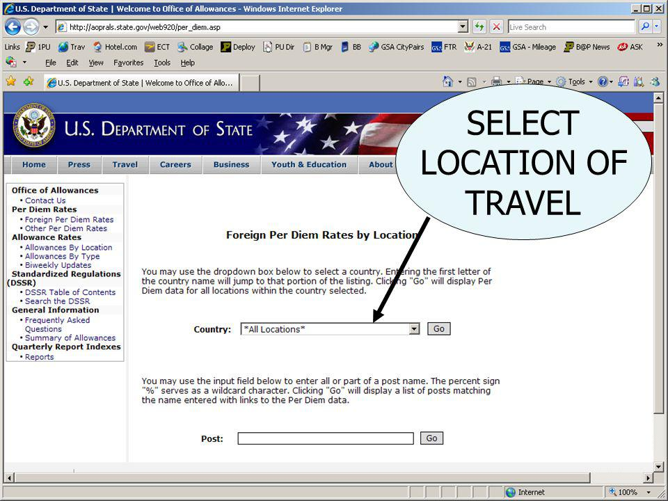 1) USE DROPDOWN TO SELECT LOCATION OF TRAVEL LETS SELECT AUSTRALIA 2) Click on GO