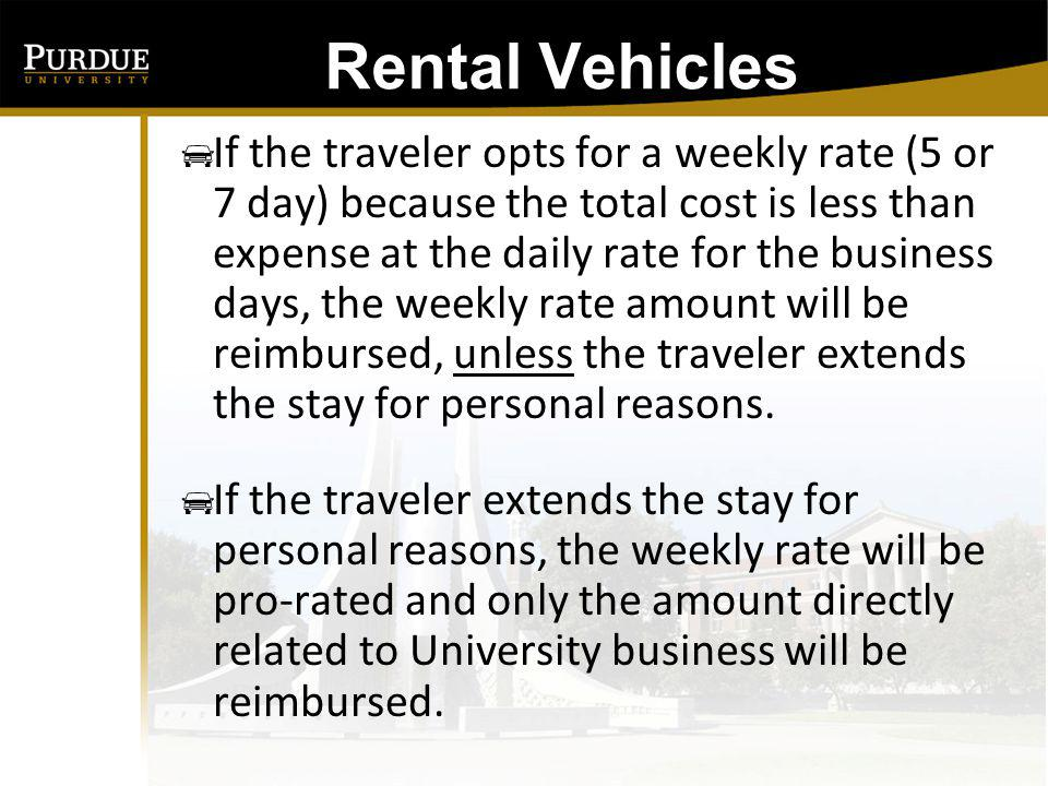 4-Day Business Event Vehicle rental cost is $35/day or $125/5-day week 1) If the traveler opts for the weekly rate Allowable reimbursement is: $125 - If trip is not extended for personal business 2) If traveler opts for daily rental Allowable reimbursement is: $35 X 4 business days = $140 The weekly rental option provides a $15 savings and is encouraged.