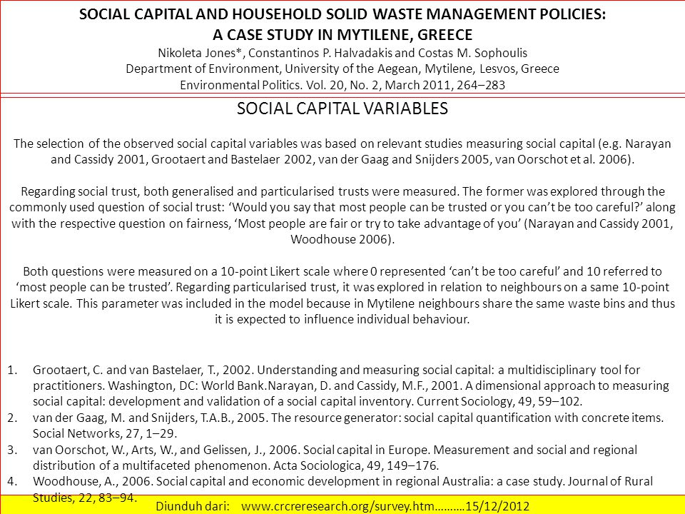 Diunduh dari: www.crcreresearch.org/survey.htm……….15/12/2012 SOCIAL CAPITAL VARIABLES Institutional trust was also explored on a 10-point Likert scale (0 – Dont trust at all 10 – I trust completely) (Paxton 1999, Newton and Norris 2000, Van Oorschot et al.