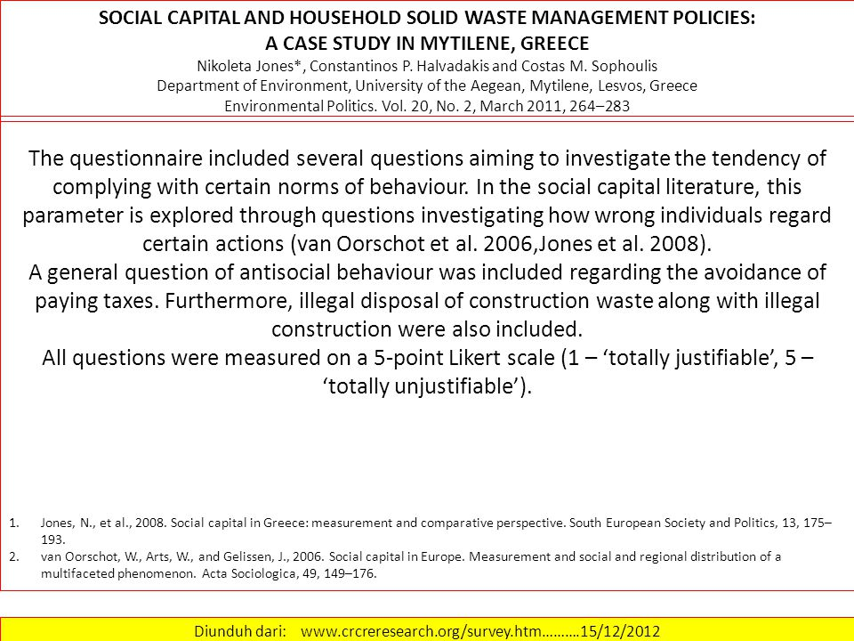Diunduh dari: www.crcreresearch.org/survey.htm……….15/12/2012 Environmental behaviour variables Regarding variables investigating environmental behaviour for the management of household solid waste, respondents were asked to declare the frequency of proceeding to four environmental actions.