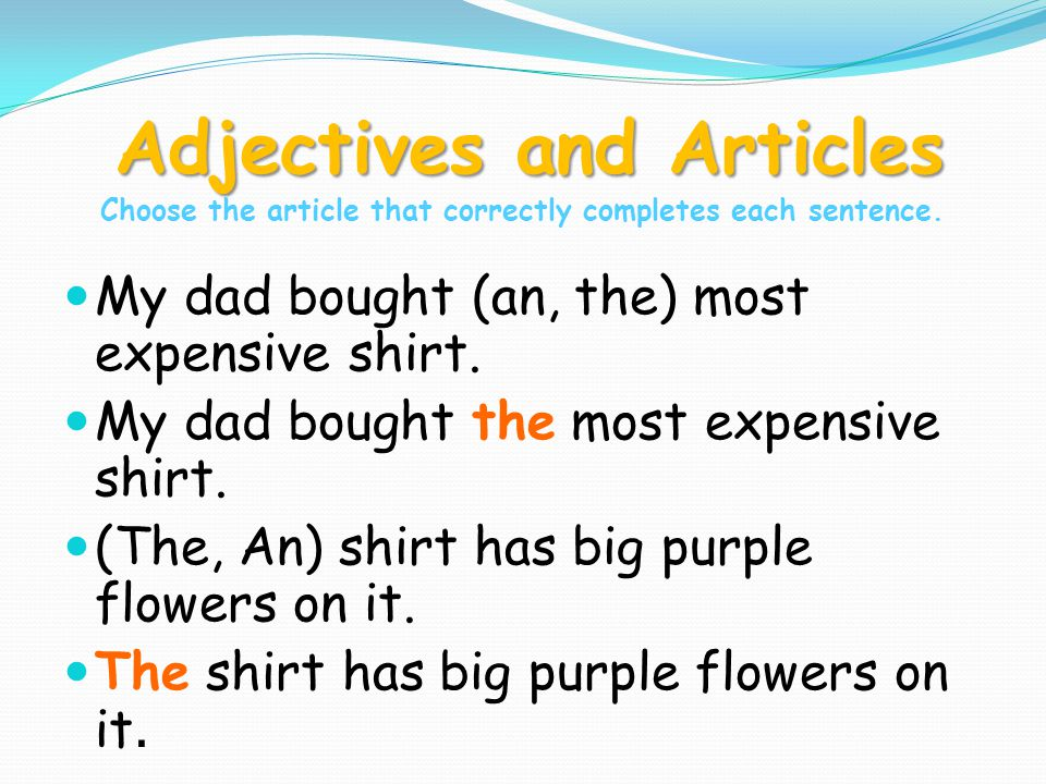 Adjectives and Articles Adjectives and Articles Choose the article that correctly completes each sentence.