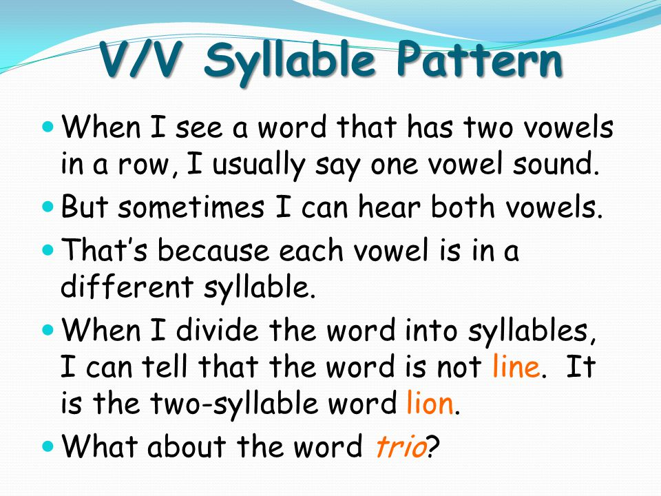 V/V Syllable Pattern realize re / alize hyena hy / ena dandelion dandeli /on period peri / od stereo stere /o theater the / ater usual usu / al rodeo rode / o
