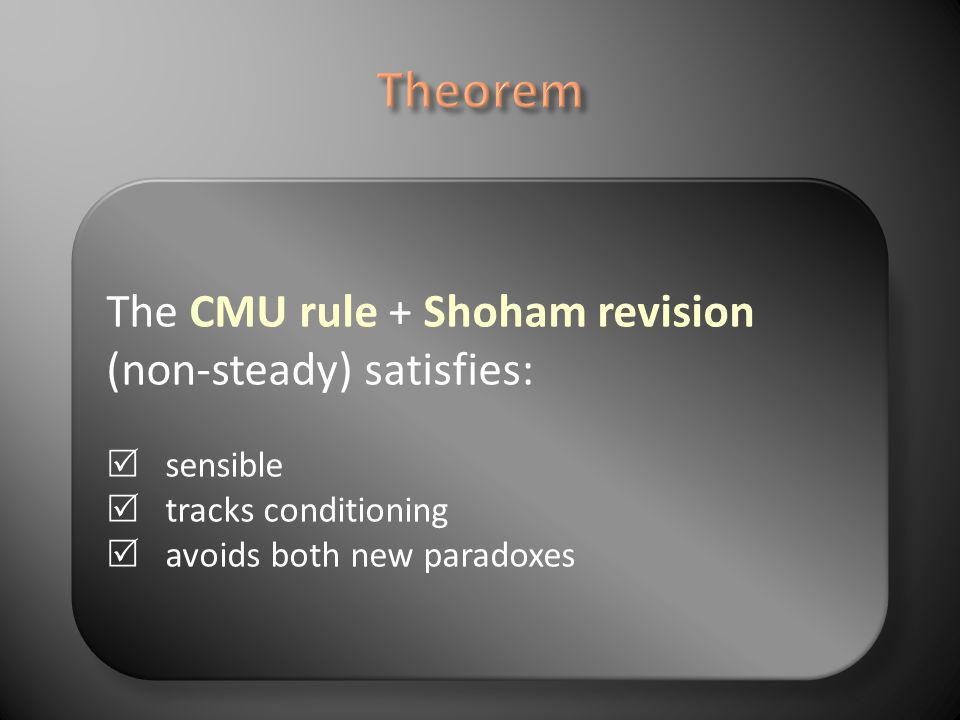 Shoham revision sensible tracks conditioning Implies CMU rule + avoidance of the 2 new paradoxes.