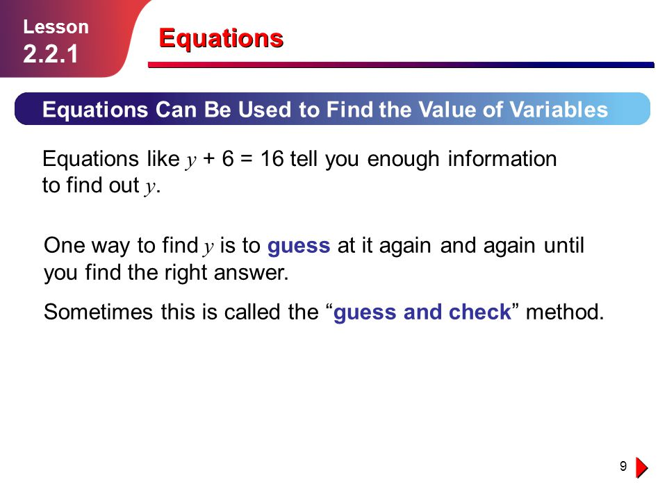 10 Example 3 Find the value of y if y + 6 = 16.