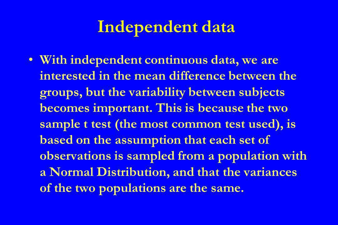Non-parametric test If the continuous data is not normally distributed, or the standard deviations are very different, a non- parametric alternative to the t test known as the Mann-Whitney test can be utilised (another derivation of the same test is due to Wilcoxon)