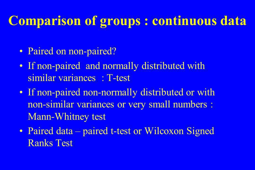 Comparing Proportions Qualitative or categorical data is best presented in the form of table, such that one variable defines the rows, and the categories for the other variable define the columns.