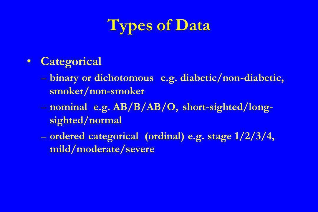 Discrete numerical - e.g.number of children - 0/1/2/3/4/5+ Continuous - e.g.
