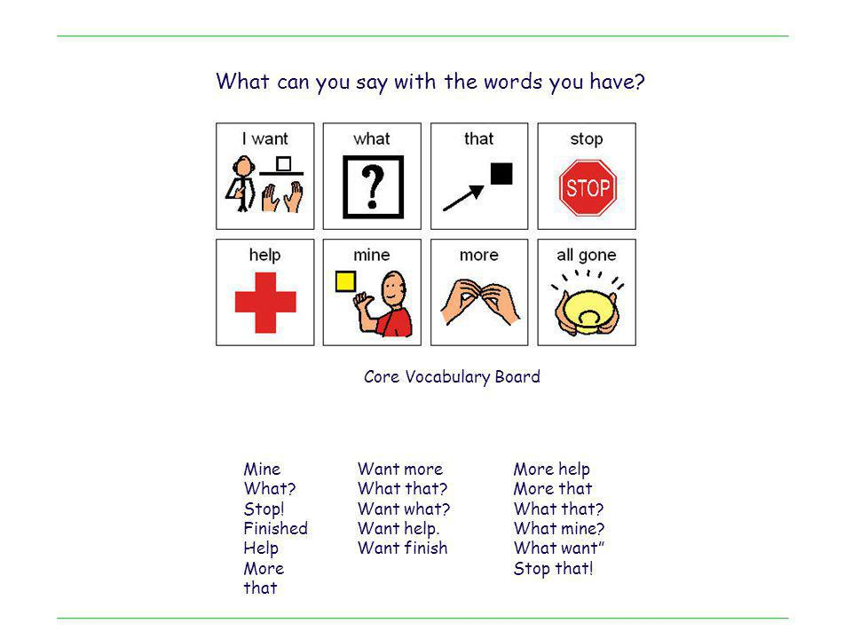 Core Vocabulary Board What can you say with the words you have.