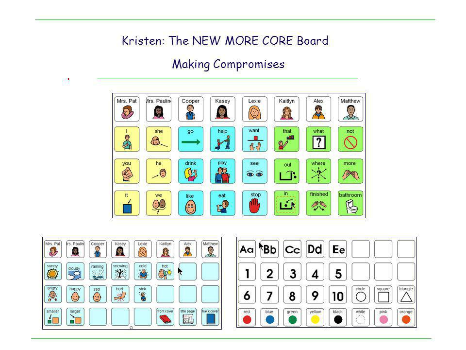 . Kristen: Nonverbal TMR who has used sign until now Midtech solution with core vocabulary Academics Notice: 1.Poor attention 2.Poor understanding of picture meanings 3.Poor inclusion