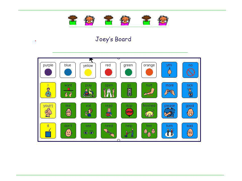 . Joey: A boy with autism learning language concepts Mid tech device with 32 cells Notice: Learning verb meanings Learning motor patterns Single page design