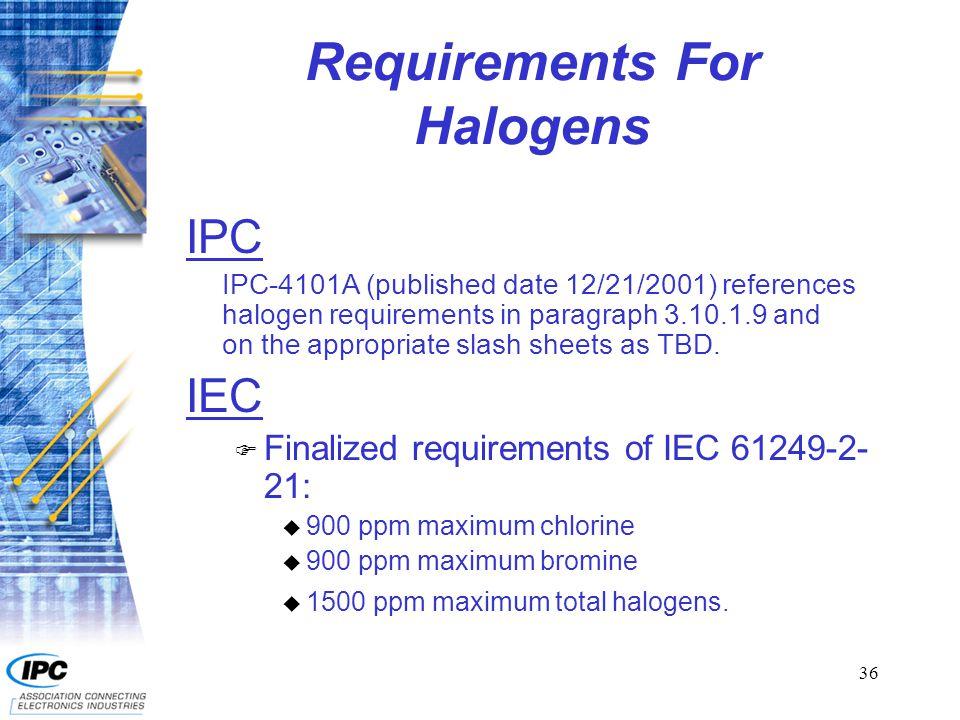 37 Documents For Halogen Free IPC: F IPC-4101A/92Tg 110 – 150Phosphorus F IPC-4101A/93Tg 110 – 150ATH F IPC-4101A/94Tg 150 – 200Phosphorus F IPC-4101A/95Tg 150 – 200ATH IEC: F 61249-2-21Tg 120 minimum laminate F 61249-2-22Tg 150 – 190 laminate F 61249-4-11Tg 120 minimum prepreg F 61249-4-12Tg 150 – 190 prepreg
