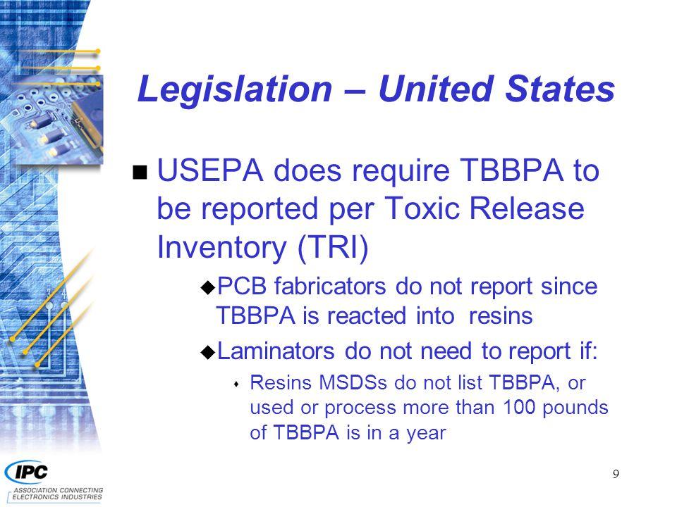 10 Legislation – United States n Maine n California n Hawaii