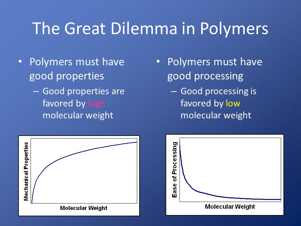 The Great Dilemma In Polymers Thermoplastics meet the dilemma by compromise – High enough molecular weight to get adequate properties – Low enough molecular weight to process OK Thermosets meet the dilemma by crosslinking – Low molecular weight initially (for wetout and processing) followed by curing to increase molecular weight – No compromise is required