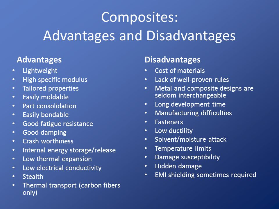 Basic Composite Concepts Concept 3: Advanced and Engineering – Advanced composites optimize the relationship of mechanical properties and weight, or optimize thermal performance and weight Usually made from long, high performance fibers (carbon and aramid) and advanced resins Specific properties (accounting for density) are important – Engineering composites have good properties with a focus on cost Usually made from fiberglass, often chopped, and engineering resins Sometimes termed Fiberglass reinforced plastics (FRP)