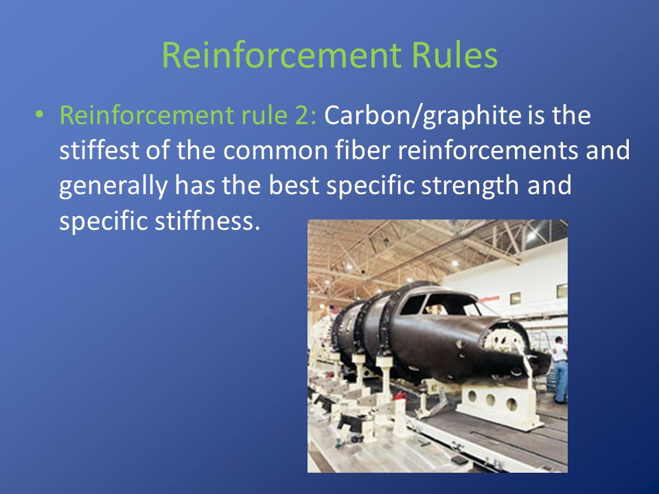 Reinforcement Rules Reinforcement rule 3: Aramid is the toughest of the major types of composite reinforcements.