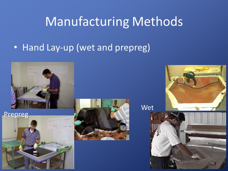 Manufacturing Methods Spray-up – Fibers are chopped, coated with resin and sprayed onto the mold