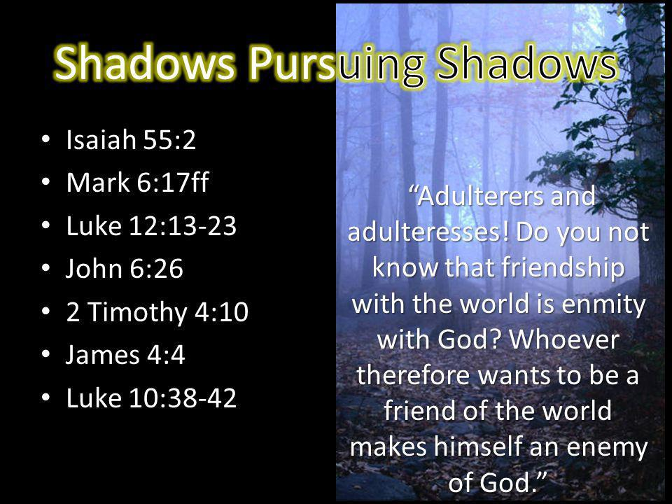 Rather than chase shadows, pursue the Son it is certain that you will stand before Him (2 Cor.