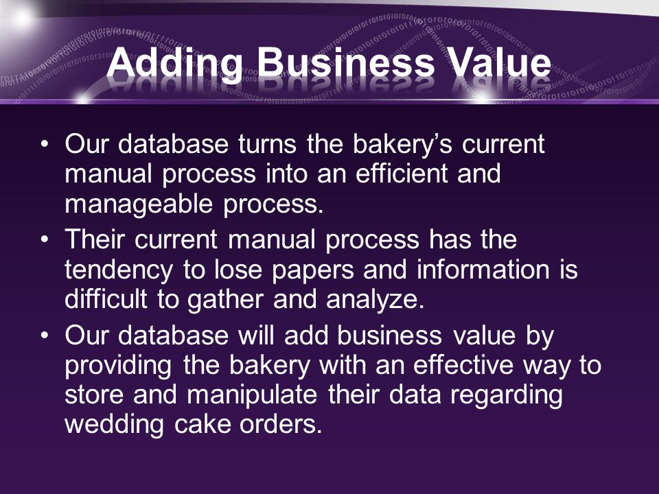 Three Forms: –Event Information –Wedding Cake Details –Accessory Deposit Information Five Reports: –Accessories not returned –Cake Balances Due –Customer Invoice –Location Report –Wedding Cake Contracts