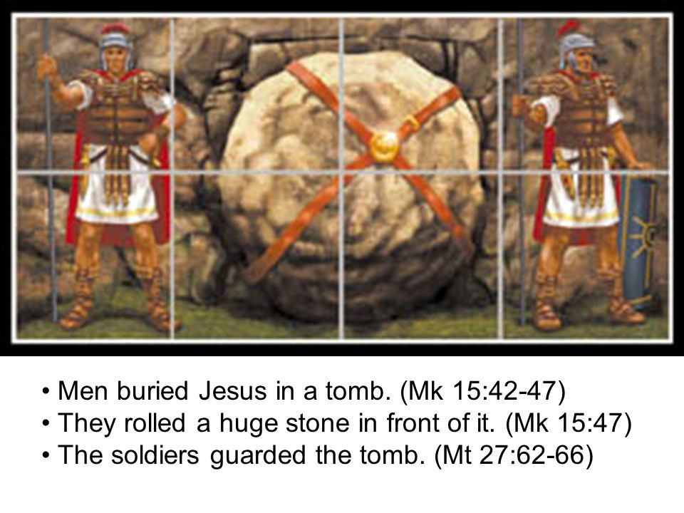 Christ is Risen God sent an angel to roll away the huge stone and to scare away the soldiers.