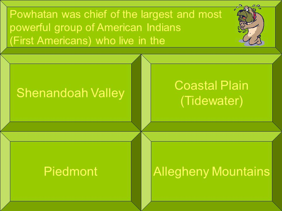 Powhatan was chief of the largest and most powerful group of American Indians (First Americans) who live in the Shenandoah Valley Allegheny Mountains Coastal Plain (Tidewater) Piedmont