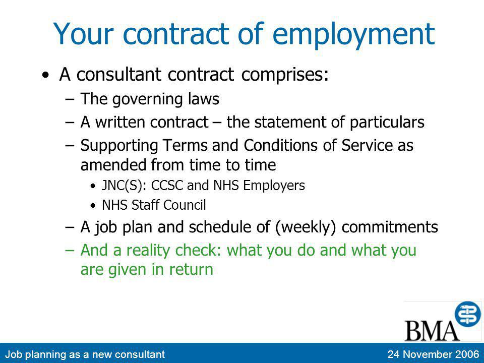 Job planning as a new consultant24 November 2006 New consultant contracts Introduced over a period from October 2003 Separate territorial contracts New consultants offered new contracts Most other consultants in most hospitals also now on new contracts –Usually with APAs This makes comparison much easier than during the transition period