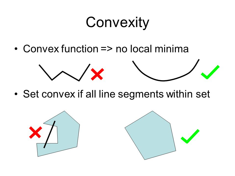 Convexity of Loss Functions 0-1 loss is not convex –Local minima, sensitive to small changes Convex Bound –Large margin solution with regularization –Stronger guarantees