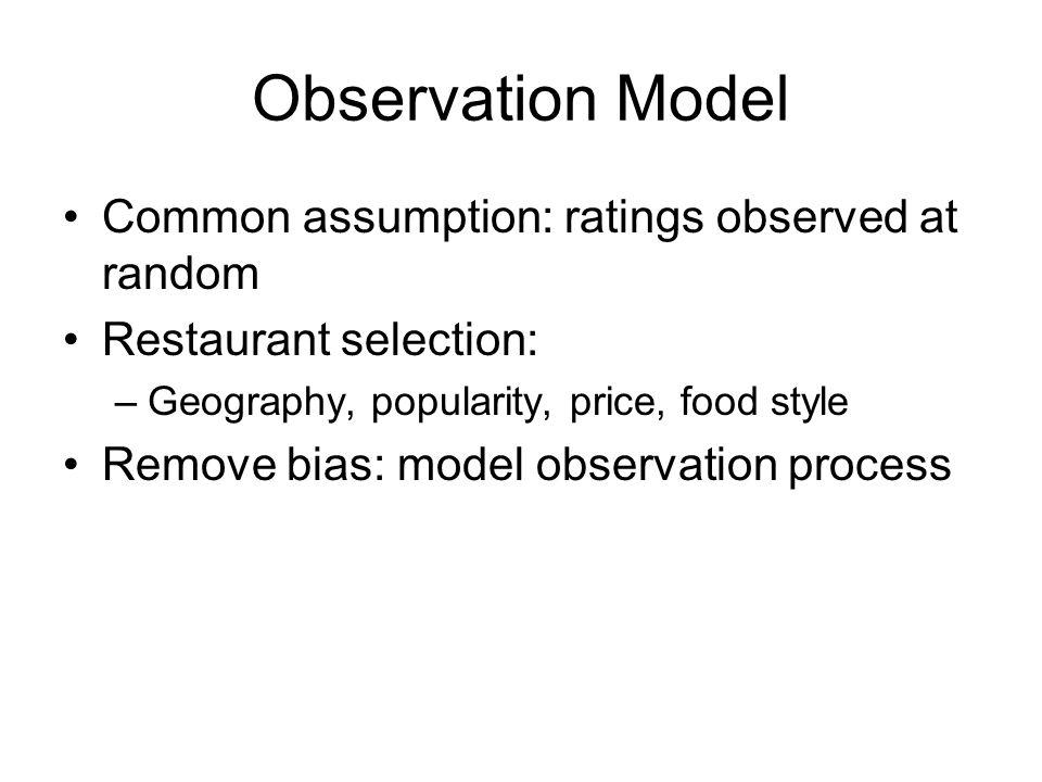 Observation Model Model as binary classification Add binary classification loss Tie together rating and observation models X=U X V W=U W V