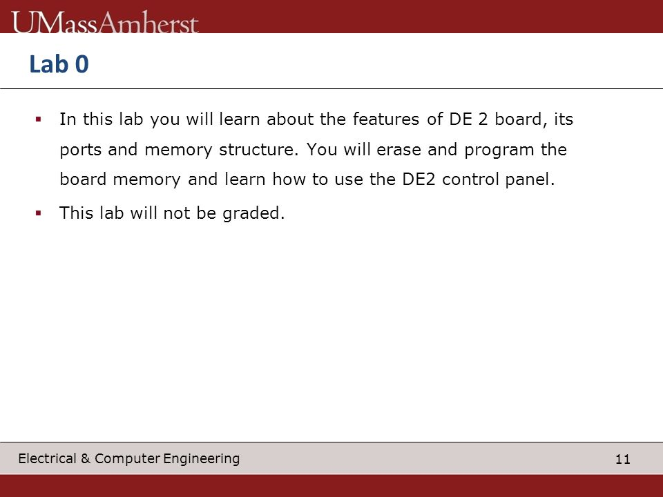 12 Electrical & Computer Engineering Lab 1 In this lab you will program a soft core 32 bit microcontroller from Altera called Nios 2 into the FPGA and write a simple code to echo hello world on your screen.