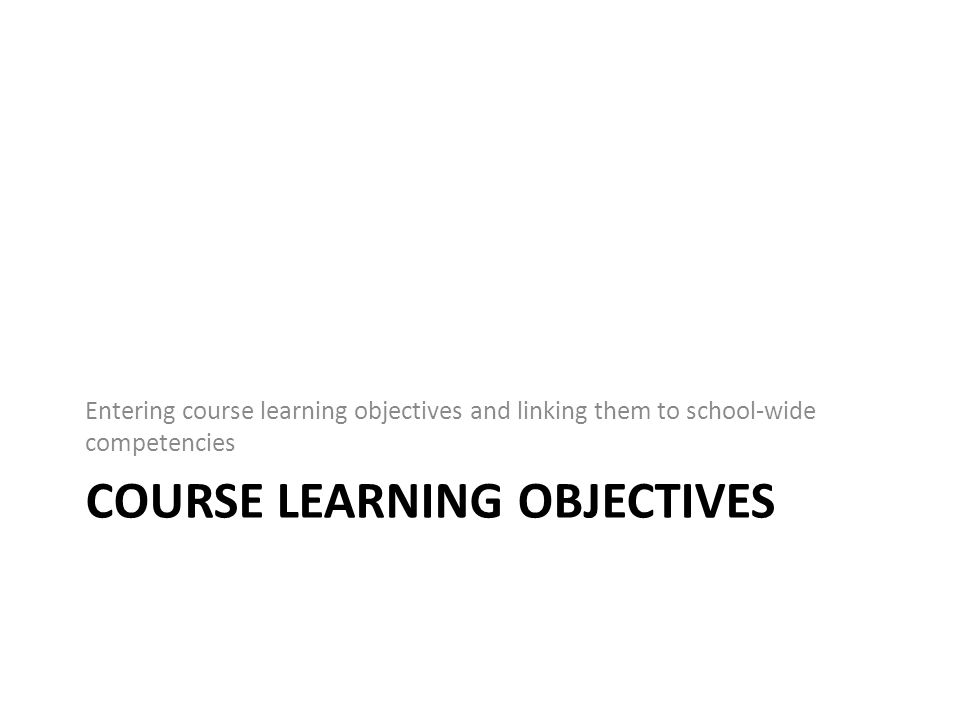 Manage Course Objectives Version A