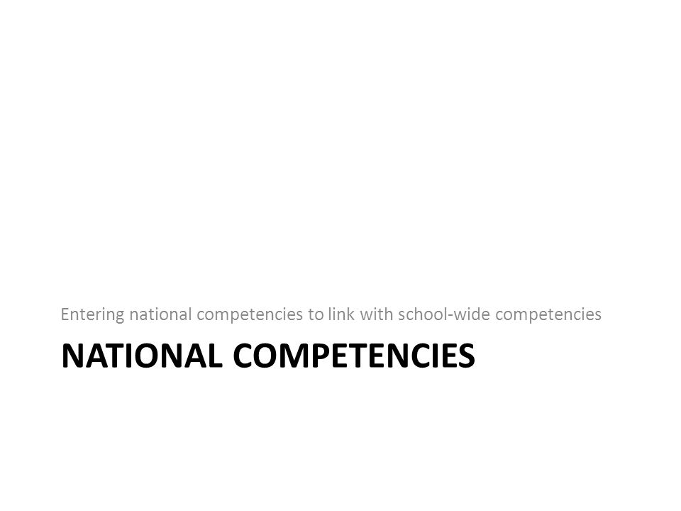 Manage National Competencies