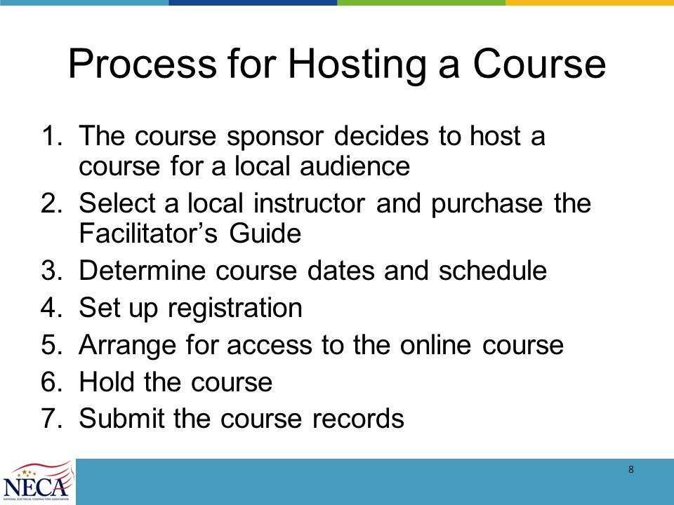 9 Resources Website: www.necanet.org/BasicForemanshipwww.necanet.org/BasicForemanship –Link to purchase the online course –A step-by-step guide on how to host a course –Information on instructing a course –Resources such as sign-in sheet templates, registration flyer templates, directions for participants on how to access the course and the schedule and bulk pricing.