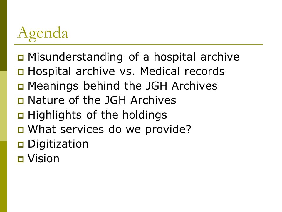 Misunderstanding of a Hospital Archive Medical Records Department at the JGH, 1980s.