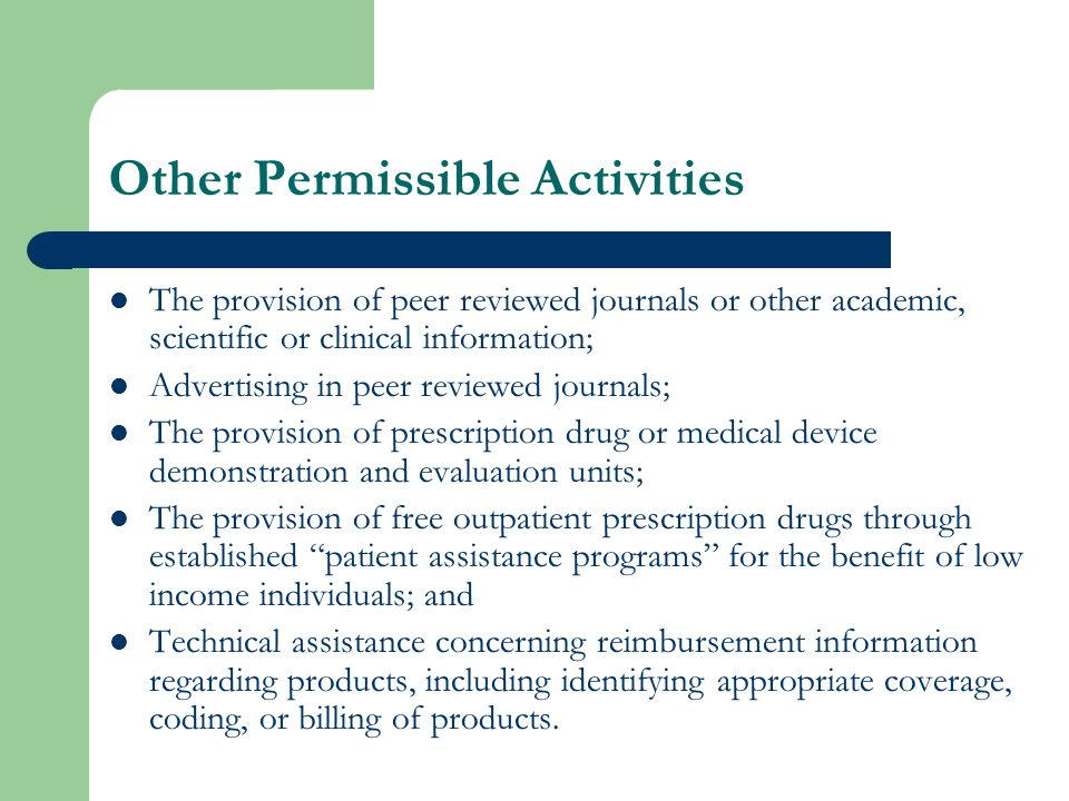 Compliance Program Requirements Pharmaceutical/Medical Device Manufacturers must: – Adopt and comply with the DPH Marketing Code of Conduct.