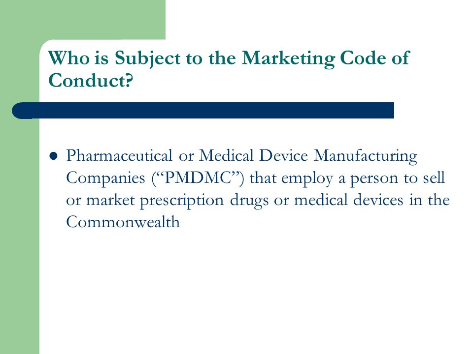 Who is Affected by the Marketing Code of Conduct.