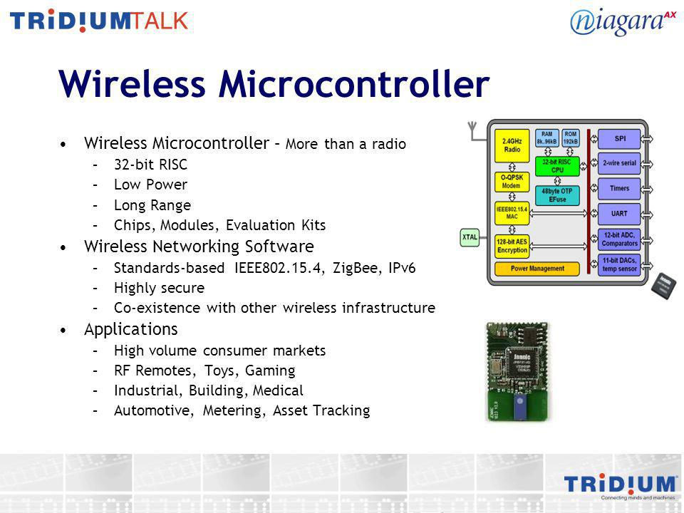 Wireless Connectivity Solution Wireless Microcontroller –Highly Integrated Single Chip Solution –Feature rich microcontroller + IEEE802.15.4 compliant transceiver Networking Stacks –Designed for flexibility, low power operation, co-existence, stability and robustness –For sensor and control networking