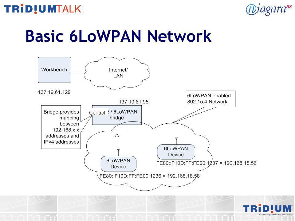 6LoWPAN Network Overview Wired IP/Ethernet Infrastructure Wired Control Network Cluster 2 (VendorNet Network, RF Channel 4) Cluster 1 (VendorNet Network, RF Channel 2) 802.15.4 MAC JenNet 6LoWPAN/IPv6 Sedona