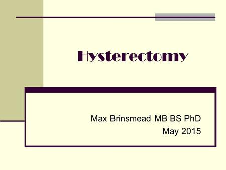 Max Brinsmead MB BS PhD May 2015