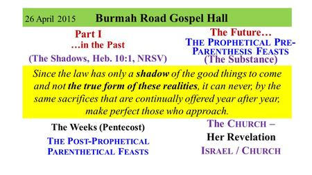 26 April 2015 Burmah Road Gospel Hall Part I …in the Past (The Shadows, Heb. 10:1, NRSV) The Passover The Unleavened Bread The Firstfruits Part II The.