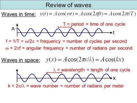 Review of waves T = period = time of one cycle  = 2  f = angular frequency = number of radians per second t Waves in time: f = 1/T =  /2  = frequency.