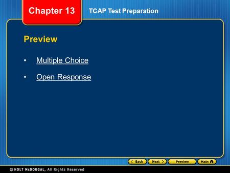 Chapter 13 TCAP Test Preparation Preview Multiple Choice Open Response.