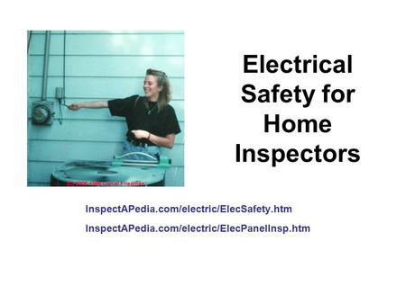 Electrical Safety for Home Inspectors InspectAPedia.com/electric/ElecSafety.htm InspectAPedia.com/electric/ElecPanelInsp.htm.