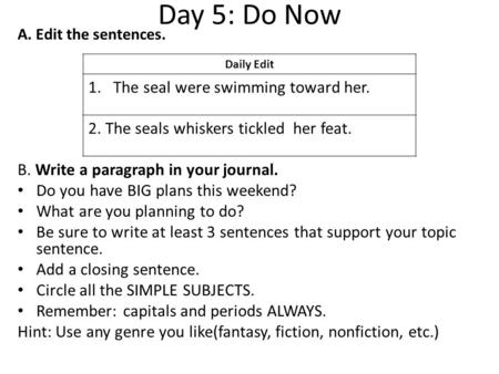 Day 5: Do Now A. Edit the sentences. B. Write a paragraph in your journal. Do you have BIG plans this weekend? What are you planning to do? Be sure to.