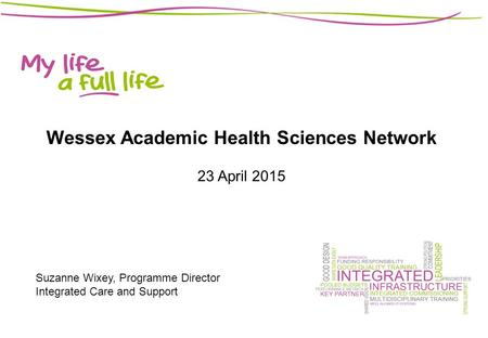 Wessex Academic Health Sciences Network 23 April 2015 Suzanne Wixey, Programme Director Integrated Care and Support.