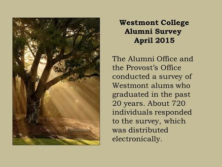 Westmont College Alumni Survey April 2015 The Alumni Office and the Provost's Office conducted a survey of Westmont alums who graduated in the past 20.